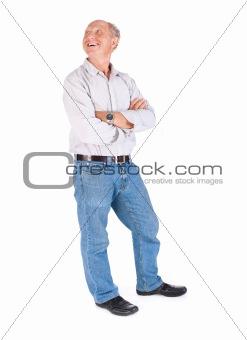 Aged grandpa posing in casuals
