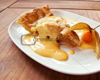A piece of sweet apple pie