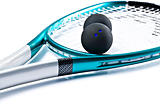 Blue squash racket with balls on white