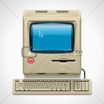 Vector retro computer XXL icon
