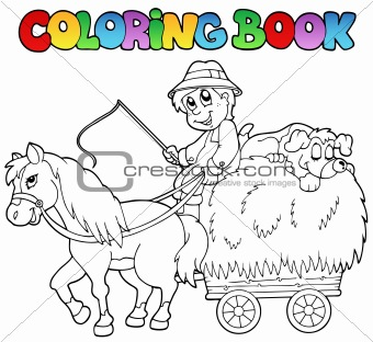 Coloring book with cart and farmer