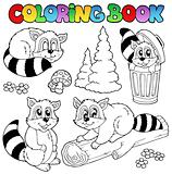 Coloring book with cute raccoons