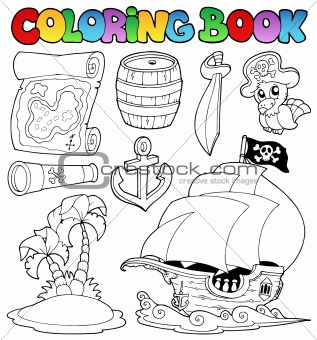 Coloring book with pirate objects
