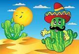 Desert scene with Mexican cactus