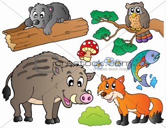Forest cartoon animals set 1