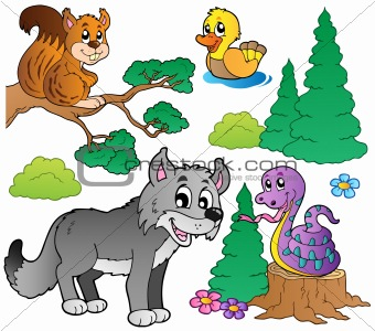 Forest cartoon animals set 2