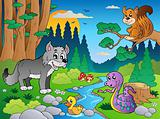 Forest scene with various animals 5