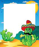 Frame with Mexican cactus