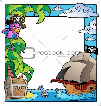 Frame with sea and pirate theme 1