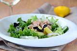Traditional salad nicoise with fish, onions and potatoes