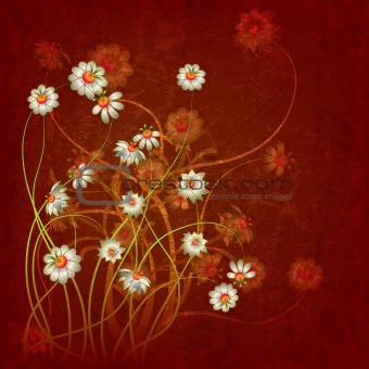 abstract grunge floral background with flowers