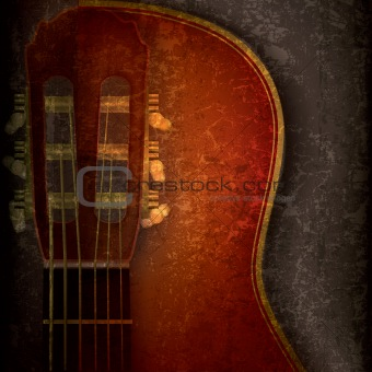 abstract music grunge background with acoustic guitar