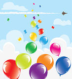 vector bunch of colorful balloons in the sky