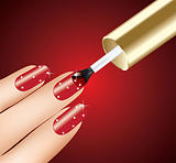 woman applying red nail polish on fingers, vector