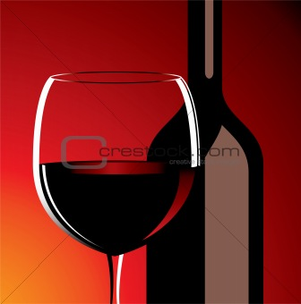 vector wine glass and bottle