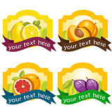 Set of fruit labels