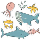 Doodle sea animals