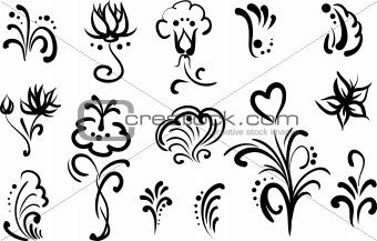 floral elements for design, set