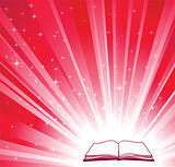 Open book and red bright background 