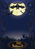 Halloween background with funny bat and graveyard