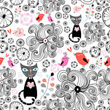 floral pattern with black cats and birds