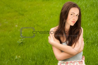 beautiful girl on grass