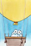 hot air balloon with bears