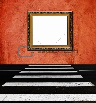 old  elegant golden frame on peach plaster rough background