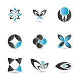 Blue logo elements