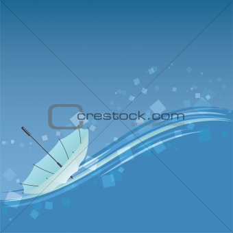 Abstract background with light blue umbrella.
