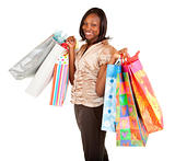 African American Woman on a Shopping Spree