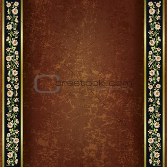 abstract grunge brown background floral ornament