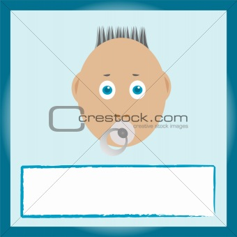baby greeting card. boy with pacifier
