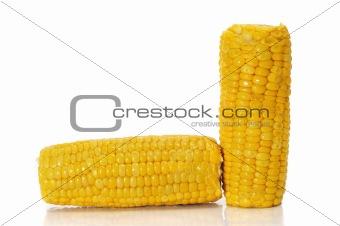 cooked corncobs