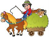 Hay cart with cartoon farmer