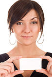 Beautiful young woman holding business card