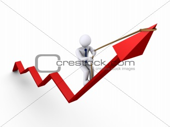 Businessman climbing graph