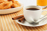 Breakfast coffee and croissants