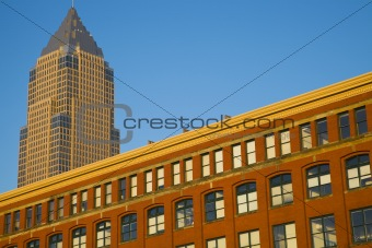 Old and new - colorful building in downtown of Cleveland
