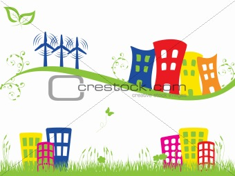 Green city with wind turbines