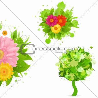 Abstract Flowers And Blot Set