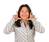Attractive Multiethnic Woman with Hands Framing Her Face Isolated on a White Background.