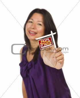 Attractive Multiethnic Woman Holding Small Sold For Sale By Owner Real Estate Sign in Hand Isolated on White Background.