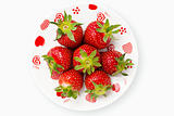 Deliciously red strawberries romantic plate
