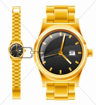 golden watch with bracelet