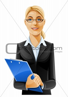 beautiful business woman with clipboard