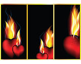 Hot hearts in fire of love