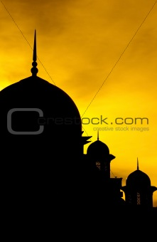Silhouette of a mosque