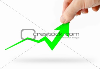 Hand rising green business graph