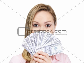 Excited young female holding bank notes in hand